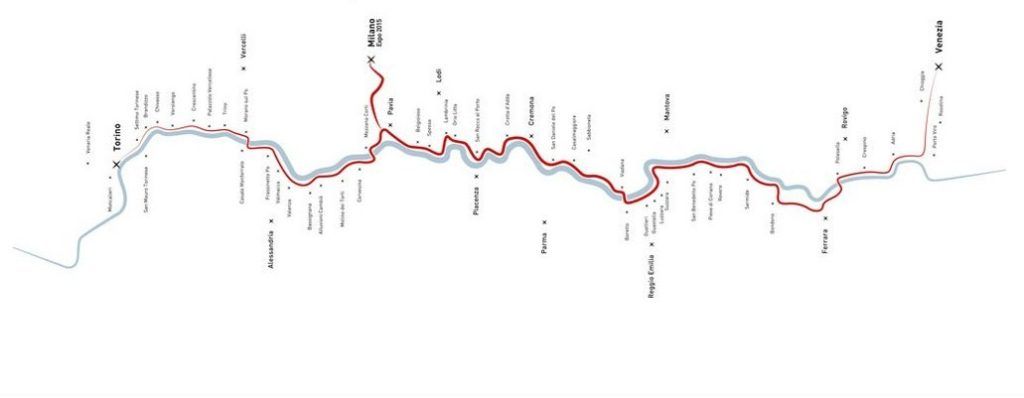 Il tracciato della dorsale cicloturistica VENTO (foto dal sito ufficiale del progetto)