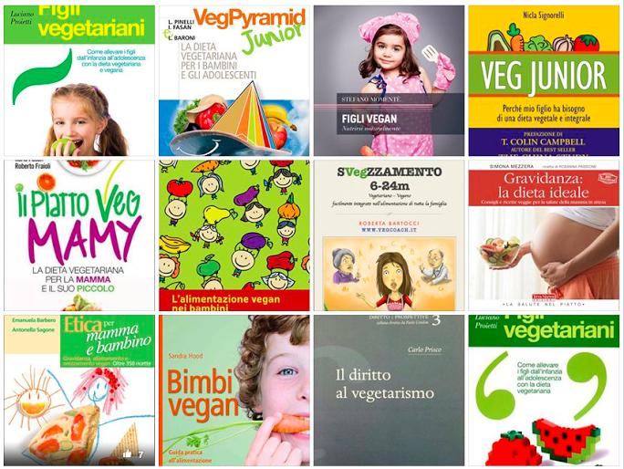 Alcune pubblicazioni disponibili oggi sul tema dell'alimentazione vegan nei bimbi