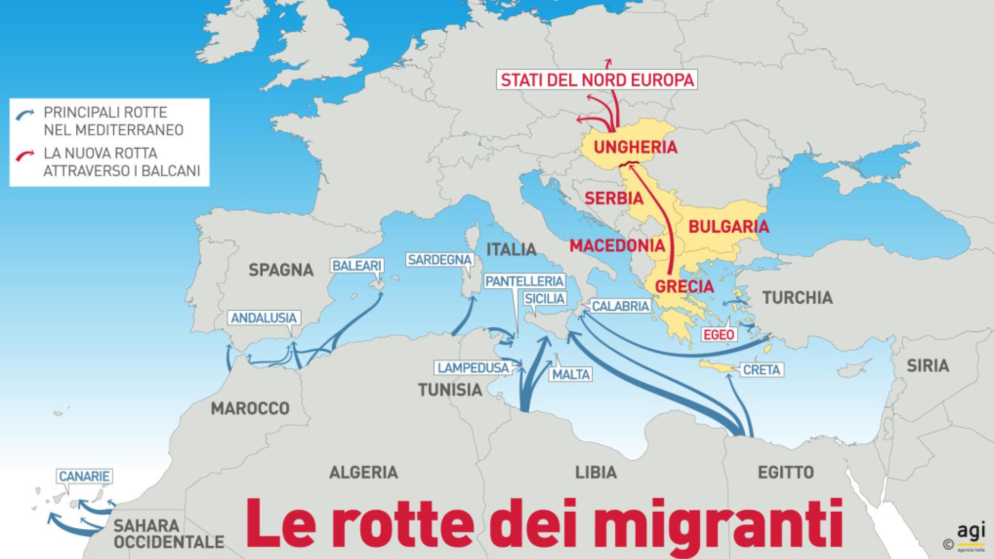 Le rotte dei migranti nel Mediterraneo verso l'Europa (studio AGI)