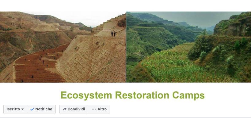 La copertina del gruppo Facebook è l'immagine dell'altipiano del Loess prima e dopo le attività di restauro ecologico