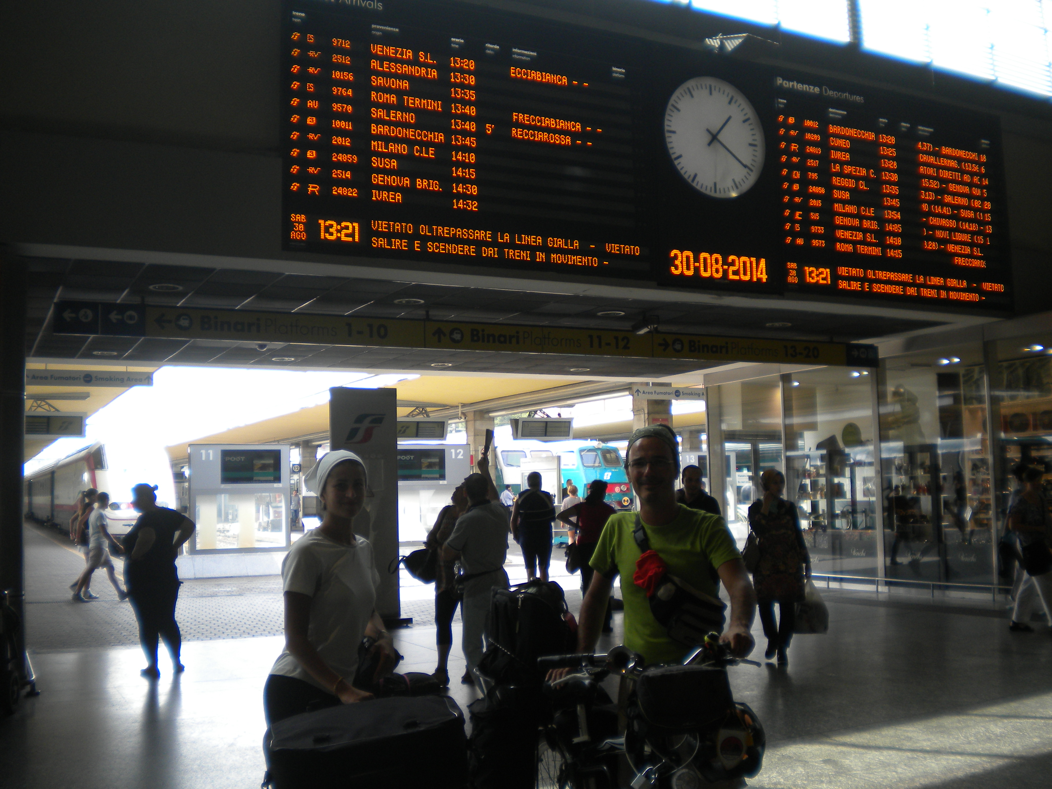 Nica e Daniele al rientro alla stazione di Torino