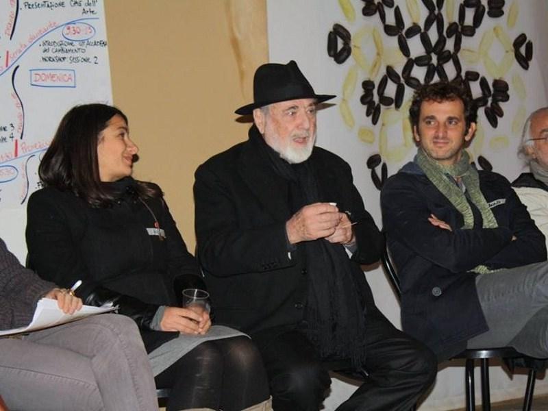 Michelangelo Pistoletto e Paolo Naldini all'incontro nazionale degli Agenti del Cambiamento che si è tenuto nell'ottobre scorso a Biella presso la Cittadellarte