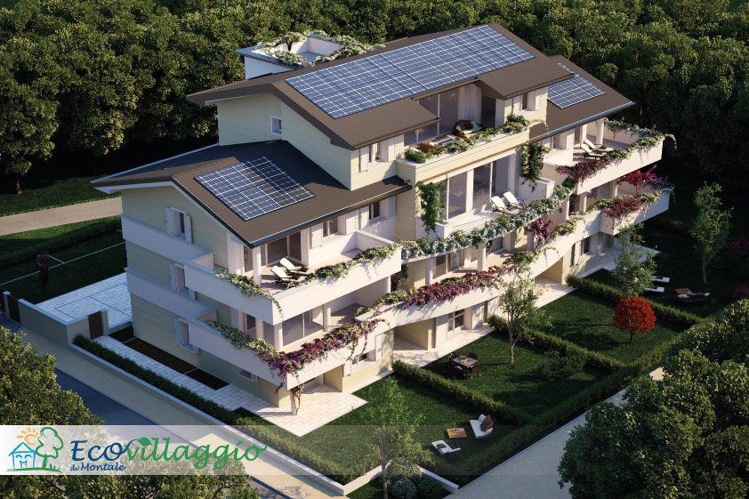 Vista dell'ecovillaggio Montale, esempio di architettura ecosostenibile