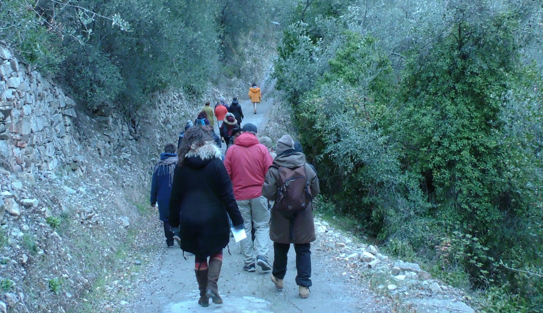 Marcella Danon guida l'escursione nella natura durante il workshop di Ecopsicologia
