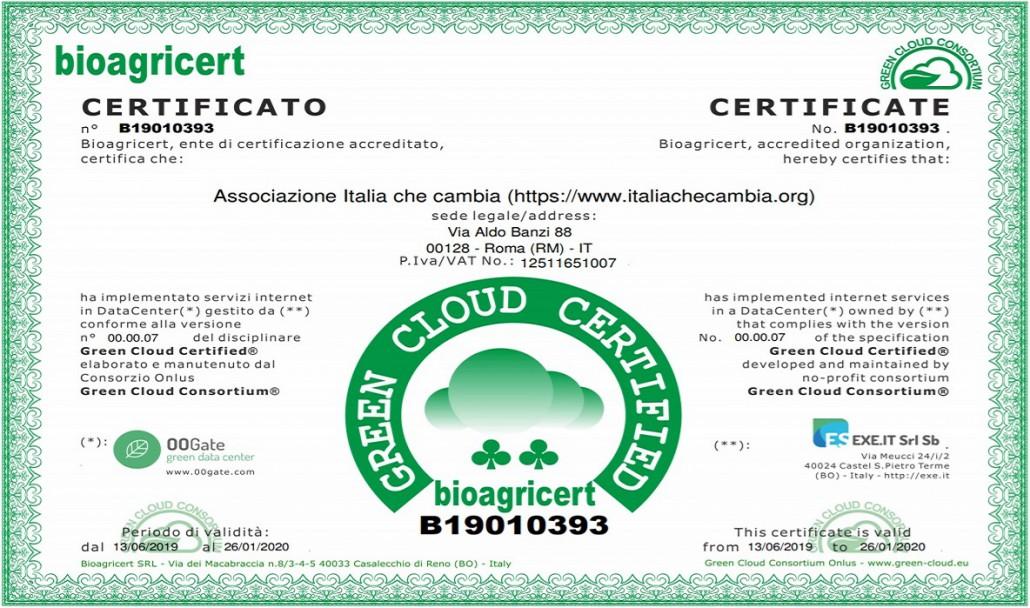 Il certificato di Italia Che Cambia