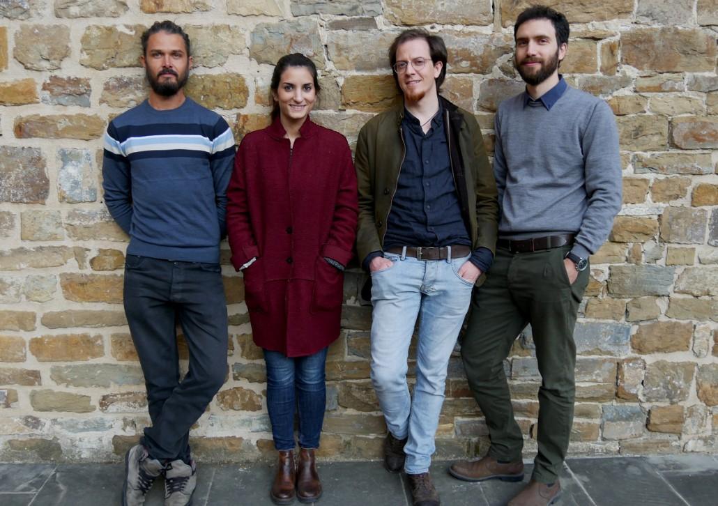 Il team di ReCreo. Da sinistra: Leo Cusseau, Shirin Amini, Leonardo Porcelloni e Federico Mazzelli