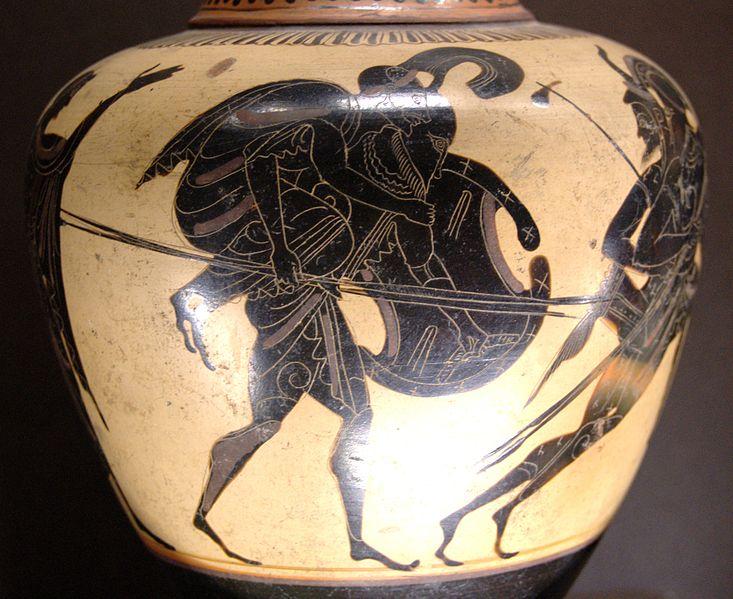Vaso greco raffigurante Enea che fugge da Troia con il padreAnchisein spalla (Fonte: Wikipedia)