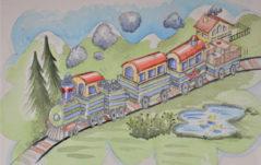 Gino, il treno verde a righe blu