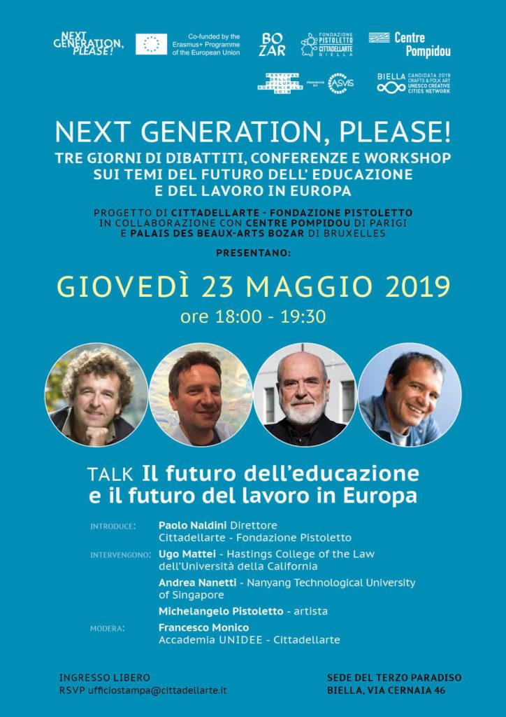 next generation please tre giorni futuro educazione lavoro Europa 1558568260